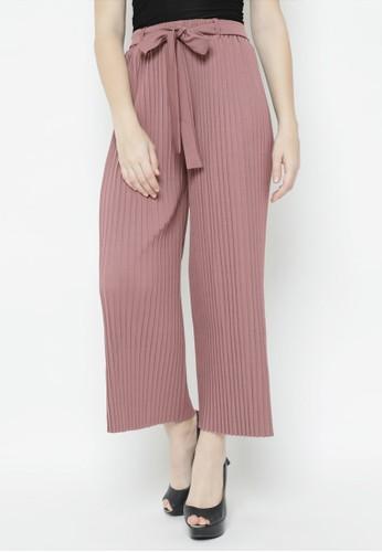 Benangsari pink Straight Pleat Pants Dusty Pink E25F3AAE033564GS_1