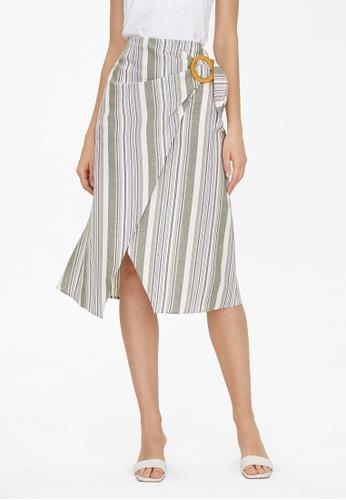 Pomelo green Midi Striped Wrap Skirt - Green 56486AA038C746GS_1