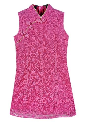 MINI PINK pink Mini Pink Girls Fuchsia Sleeveless Embroidered Organza Layered Modern Cheongsam 25F66KAA7968CFGS_1