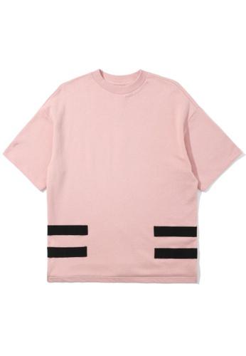 izzue pink Taped short sleeve sweatshirt 93511AA2108C5CGS_1