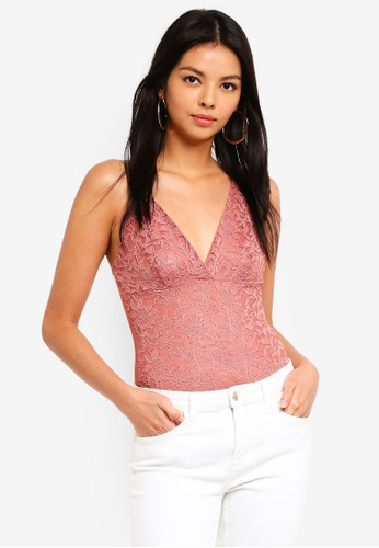 Miss Selfridge 粉紅色 Metallic Lace Bodysuit F65A2AA0D8AF7BGS_1