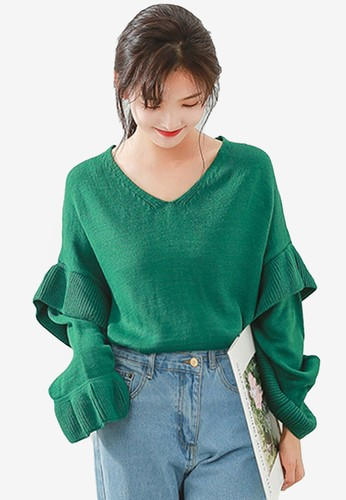 Shopsfashion green Layered Sleeve Blouse 6612BAA2541B51GS_1