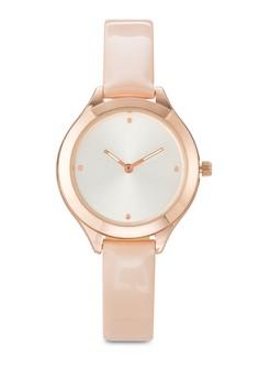 金屬感圓框仿皮手錶