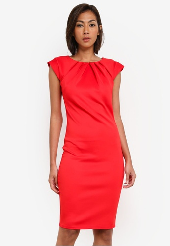 Goddiva red Pleated Neckline Cap Sleeve Midi Dress GO975AA0SAT2MY_1