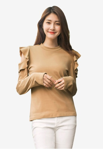 Tokichoi brown Frill Open Sleeve Sweater 3320AAA74CFD63GS_1