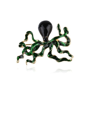 Glamorousky black Fashion Personality Plated Gold Green Octopus Brooch with Cubic Zirconia FDF3FAC40FC1D7GS_1
