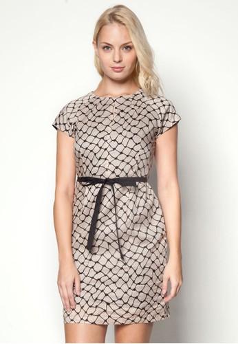 格紋繫帶esprit 品牌蓋袖洋裝, 服飾, 洋裝