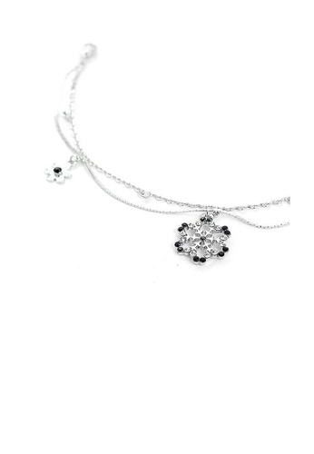 Glamorousky black Snow and Flower Anklet with Silver and Black Austrian Element Crystals 6C705AC944AD64GS_1