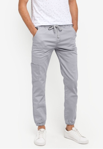 Fidelio grey Washed Cotton Casual Jogger Pants 30D40AACE1A630GS_1