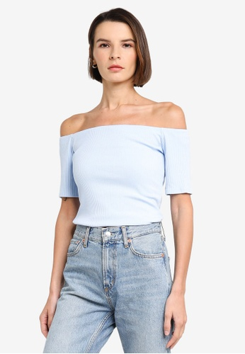 H&M blue Ribbed Off-The-Shoulder Top 85FEDAA2CCE904GS_1