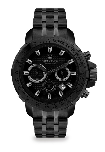 René Mouris multi Traveller Collection - 47mm Mannish Quartz Chronograph Watch for Men's - Black Color Stainless Steel Band - Made in France 38DD4ACD0DBB2BGS_1