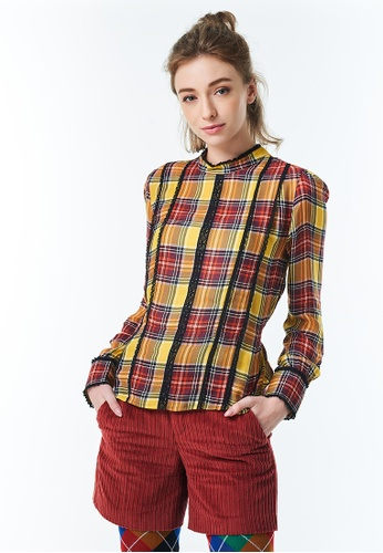 United Colors of Benetton yellow Check Blouse with Laces at Waist EDD7DAA1FF26A2GS_1