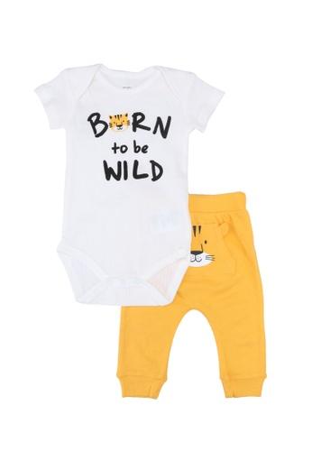 FOX Kids & Baby white Off White Romper with Yellow Pants Set 6FC19KA29F6E70GS_1