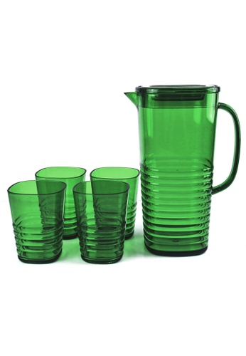 Urban Kitchen green Ribbed Plastic Pitcher and 4 pc Tumbler Set 7275DHL4A92276GS_1