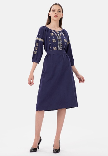MKY Clothing navy MKY Tassel Square Embroidery Dress in Navy 24503AAC75A58DGS_1