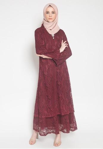 Kasa Heritage red Iliana Dress - Red 40EF5AAB8291D1GS_1