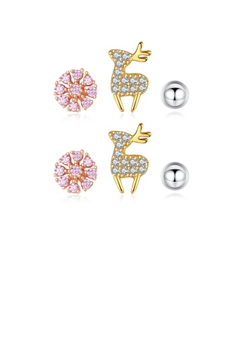 Glamorousky white 925 Sterling Silver Simple Cute Deer Snowflake Imitation Pearl Three-piece Stud Earrings with Cubic Zirconia 8093DACFECCA70GS_1