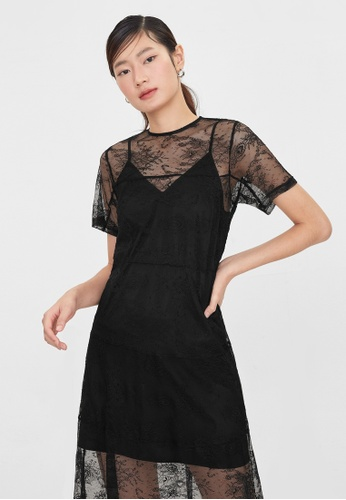 Pomelo black Midi Sheer Lace Dress - Black 28C52AA64A395DGS_1