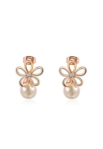 Kings Collection gold Rose Gold Flower Pearl Stud Earrings AFA67ACEA867D4GS_1