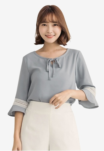 Tokichoi grey Tie-Front Ruffle Sleeve Top F6648AAE746A3AGS_1