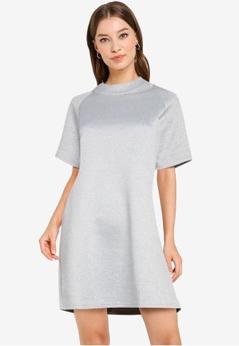 ZALORA WORK grey Mock Neck Ovoid Sleeve Dress 09782AA476750DGS_1