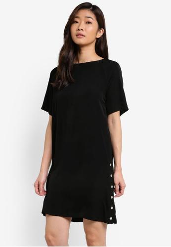 ZALORA black Side Button Down Dress F99F8AAC36A74BGS_1