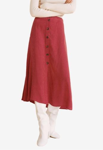 Mango red Printed Flared Skirt 8C33CAABB83CC8GS_1