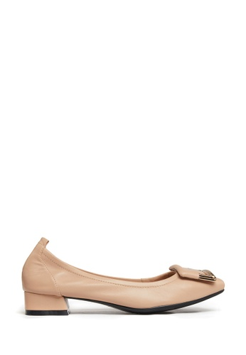 PAZZION beige Buckle Round Toe Heels 29F67SH7687A1AGS_1