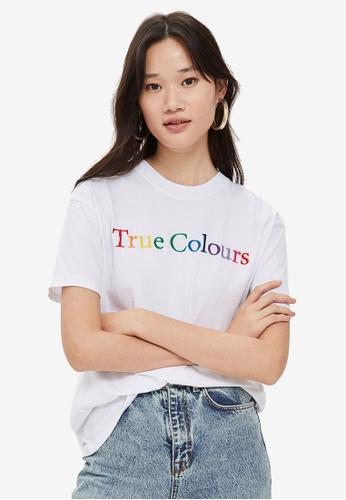 TOPSHOP white 'True Colours' Boyfriend T-Shirt By And Finally E9095AA9707C65GS_1