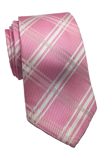 Splice Cufflinks pink Checkerboard Series Pink Checked Design Polyester Tie SP744AC94ILHSG_1