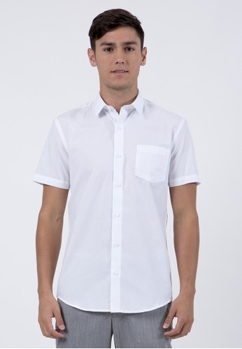 The Executive white Slim Fit Textured Short Sleeves Shirt F7ACCAA118D247GS_1