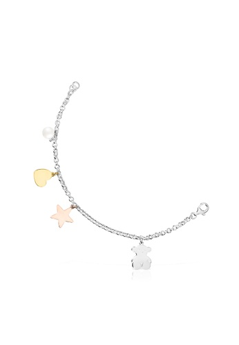 Tous white and pink and silver and gold TOUS Silver Sweet Dolls Bracelet with Silver Vermeil, Rose Silver Vermeil and Pearl DB14EAC73176F7GS_1