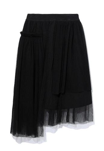 izzue black Pleated mesh skirt 93CDDAA2096B80GS_1