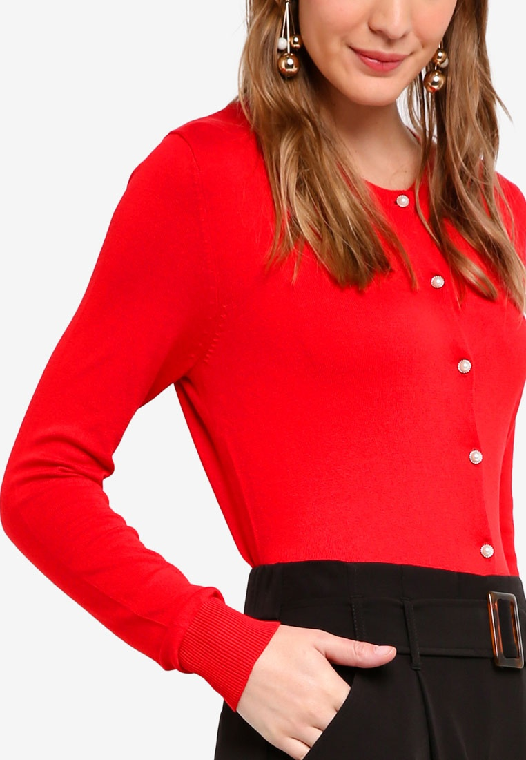 Perkins Red Viscose Cardigan Dorothy Red 1qdwpaa