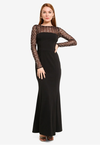 Goddiva black Diamond And Sequin Contrast Maxi Dress B4CA5AA7611198GS_1