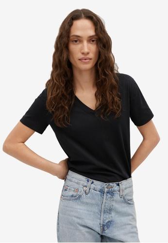 Mango black V-Neck Cotton T-Shirt 40B40AADA55193GS_1