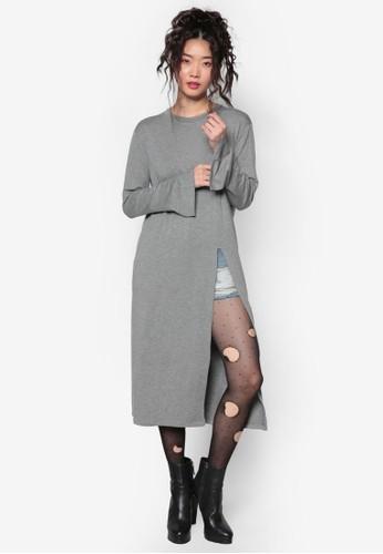 韓系風格開衩細節裙擺長袍esprit 價位, 服飾, 上衣