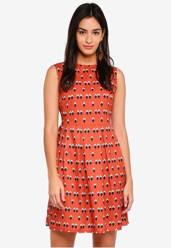 ZALORA orange Inverted Pleat Dress C12FAAA41FBED9GS_1