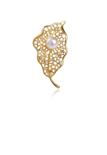 Glamorousky white Fashion and Elegant Plated Gold Hollow Leaf Imitation Pearl Brooch with Cubic Zirconia 3956AAC9B6E31BGS_1