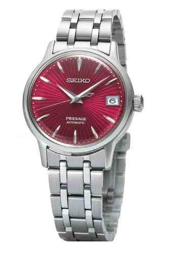 Seiko silver Seiko Presage Red and Silver Stainless Steel Watch 6D5D8AC7FE5672GS_1