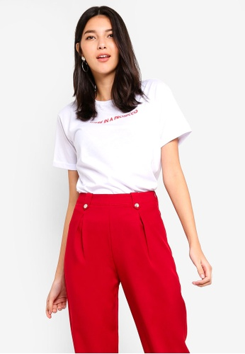 b59a7a4cdeb4 Shop ZALORA Folded Sleeves Message Tee Online on ZALORA Philippines