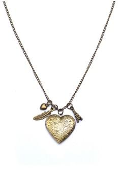 Heart Feather Locket Paris Eiffel Tower Long Necklace