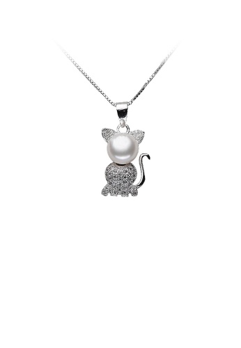 Glamorousky white 925 Sterling Silver Cat Pendant with Freshwater Cultured Pearl and Necklace 3A0EBAC42CAC9AGS_1