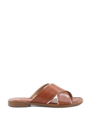 Anacapri 褐色 交叉繞帶平底涼鞋 D1717SH952FAB9GS_1