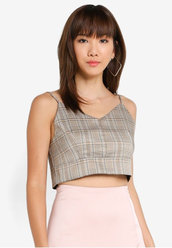 BYSI brown Cropped Cami 398BDAAABA89DDGS_1