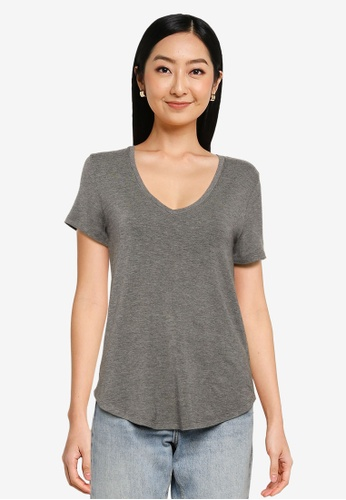 Abercrombie & Fitch grey Drapey Top E7DBCAAE77EE57GS_1