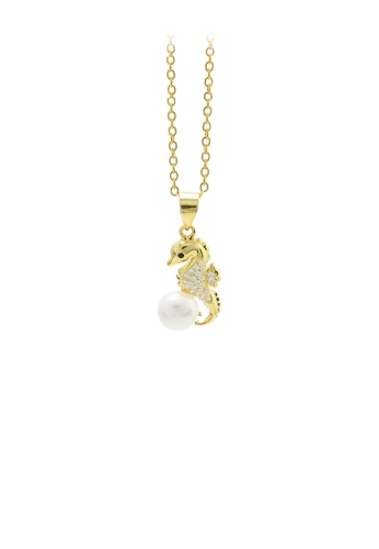 Glamorousky white 925 Sterling Silver Plated Gold Fashion and Elegant Seahorse Freshwater Pearl Pendant with Cubic Zirconia and Necklace 9ACB4ACC019697GS_1