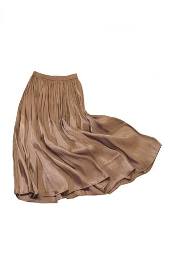 Twenty Eight Shoes brown VANSA Pearly Yarn Pleated Skirt VCW-Sk18588 D7D03AA3557C2FGS_1