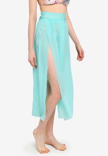 PINK N' PROPER green Daeun Mesh Slit Maxi Beach Skirt F76D1US5DDB654GS_1
