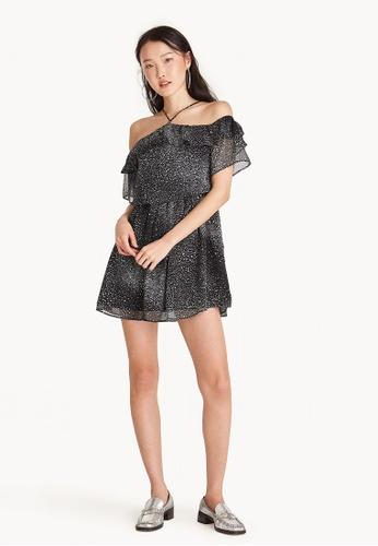 Pomelo black Mini Off Shoulder Star Flounce Dress 66B7DAAA29EFC4GS_1